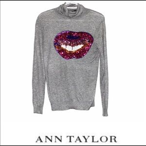 Ann Taylor sequined lips sweater